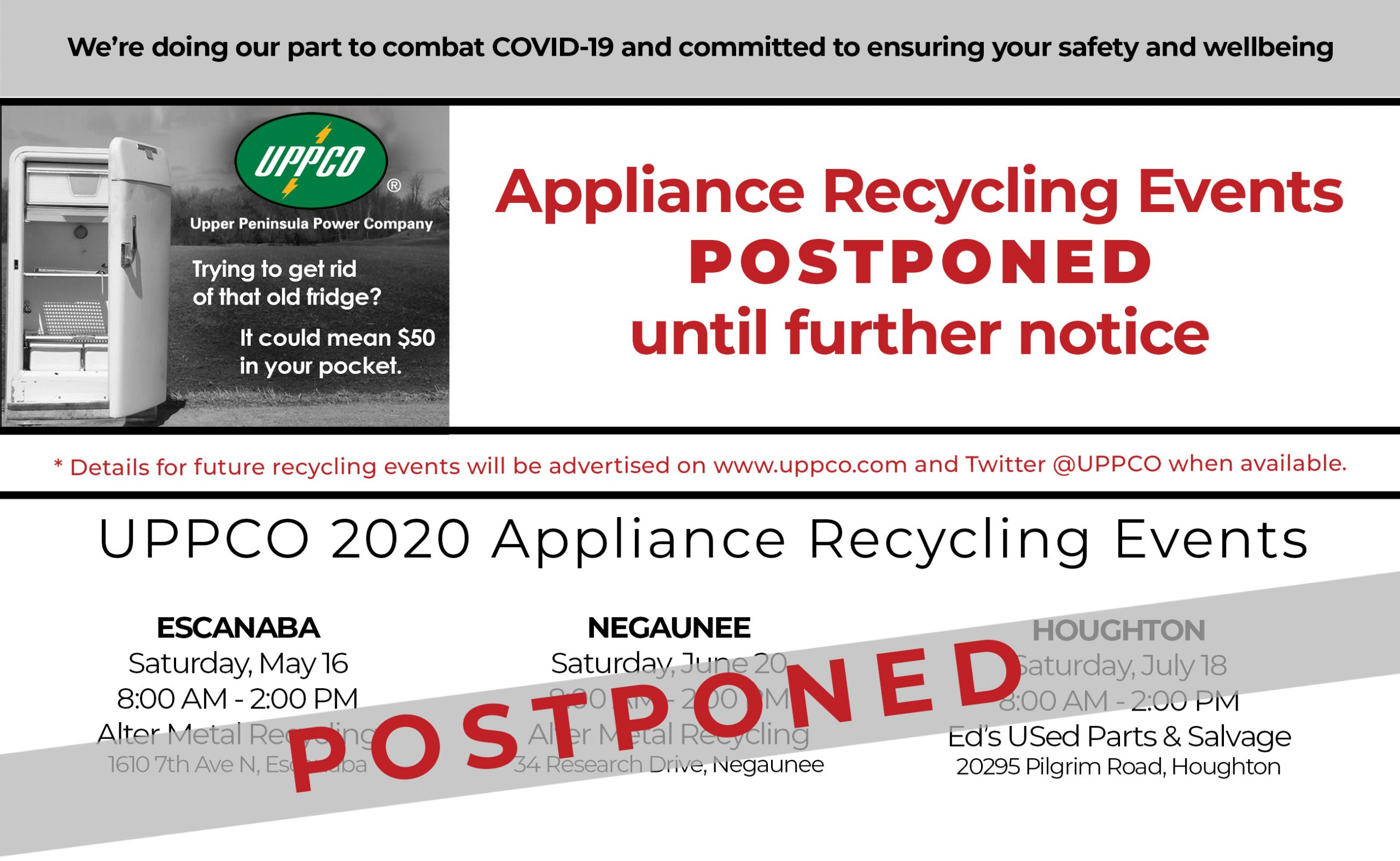 Recycling Event Announcement for COVID 19 webpage